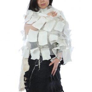Geometrical black and white shawlshawl