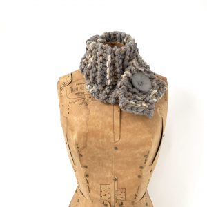 grey and taupe with a hint of cream scarf, with grey button
