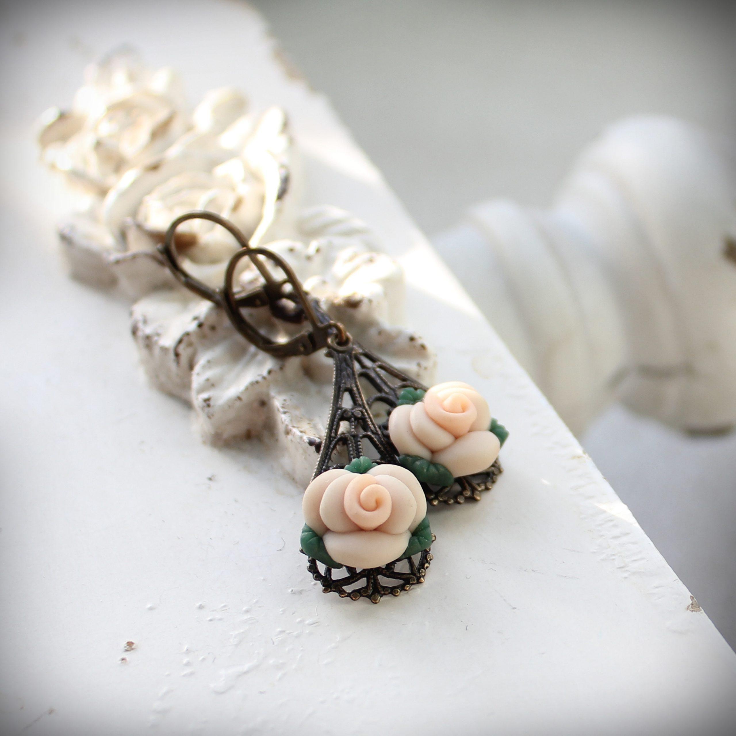 creamy ivory rose filigree earrings